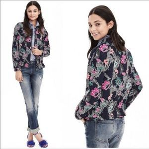 Banana Republic Floral Bomber Jacket Multicolor